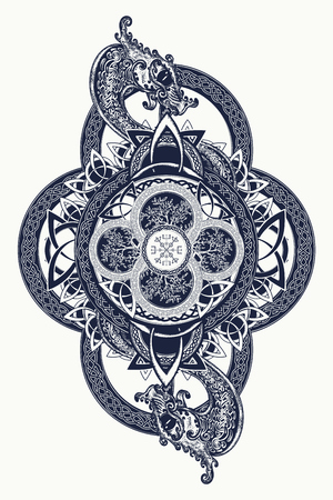 Dragons and Celtic tree of life, tattoo. Mystic tribal symbol and t-shirt design. Celtic mystical signs, tattoo art