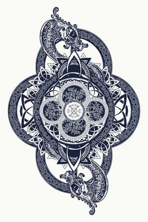 Dragoni e alberi celtici della vita, tatuaggio. Simbolo tribale mistico e design t-shirt. Segni mistici celtici, arte del tatuaggio Archivio Fotografico - 68759615
