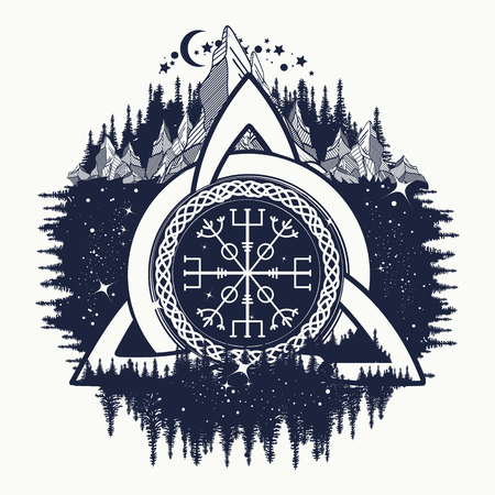Celtic trinity knot, Helm of Awe, aegishjalmur, tattoo. Scandinavian symbols of Vikings, travelers, mascot. Celtic tattoo boho style, t-shirt design Imagens - 68759622