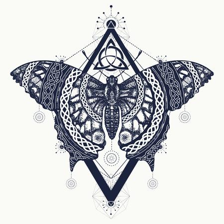 나비 문신 예술, 켈트 스타일. 자유, 자연, 관광의 신비로운 상징. 아름다운 페타 보헤미안 t 셔츠 디자인