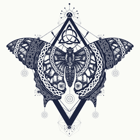Butterfly tattoo art, celtic style. Mystical symbol of freedom, nature, tourism. Beautiful Swallowtail boho t-shirt design