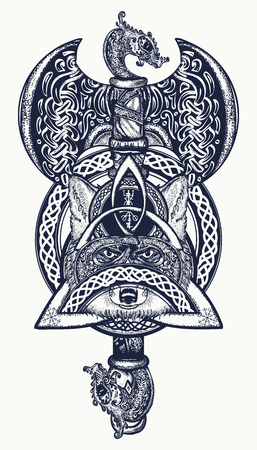 Thor's Hammer tattoo. Axe viking, warrior fox, celtic style t-shirt design. Helm of Awe, aegishjalmur, celtic trinity knot, tattoo