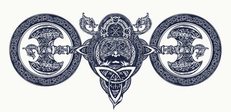 바이킹 문신, 셀틱 스타일. 북한 전사 헤드 t 셔츠 디자인. 도끼, 용. 스칸디나비아 신화, 바이킹 예술 인쇄 일러스트