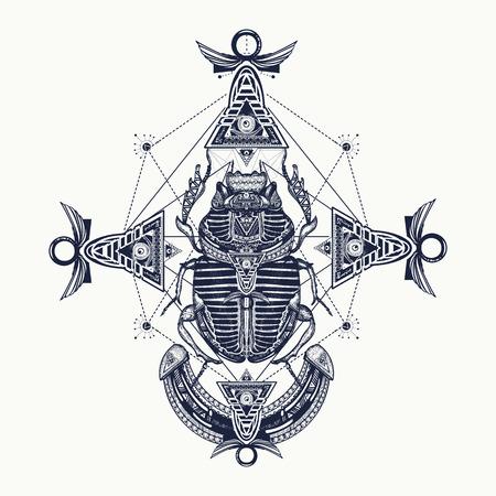 Scarab, tattoo, ancient Egypt, mythology. Egyptian scarab symbol of pharaoh, gods Ra, sun, t-shirt design, tattoos of ancient Egypt
