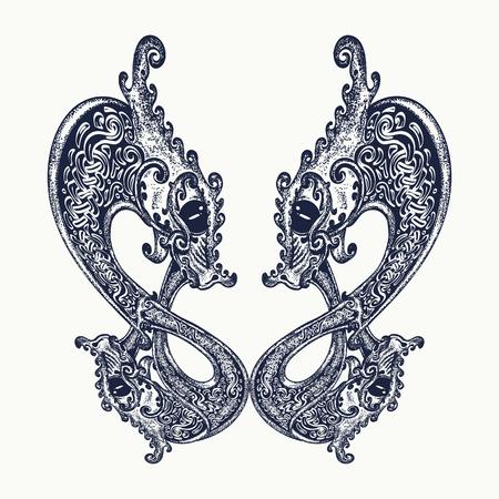 Twee draken Keltische tattoo. Scandinavische en Ierse krachten symbolen. t-shirt ontwerp van de Draak Vector Illustratie