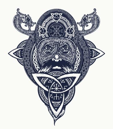 Viking warrior tattoo. Northern warrior, t-shirt design.  Celtic emblem of Odin. Northern dragons, viking helmet, ethnic style Vettoriali