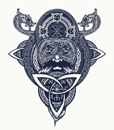 Viking warrior tattoo. Northern warrior, t-shirt design. Celtic emblem of Odin. Northern dragons, viking helmet, ethnic style