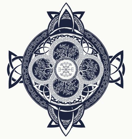 paganism: Celtic cross tattoo. Dragons and celtic tree of life. Mystic tribal scandinavian and Irish symbol, celtic cross t-shirt design