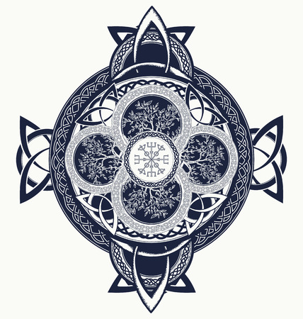 Keltisch kruis tattoo. Draken en Keltische boom van het leven. Mystic tribal Scandinavische en Ierse symbool, keltisch kruis t-shirtontwerp