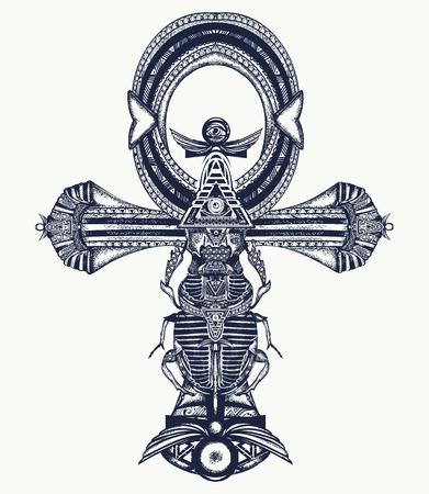 アンクのタトゥー、古代エジプト クロス t シャツのデザインです。古代エジプトの装飾的なエスニック スタイル。永遠の人生タトゥー、不死の鍵の