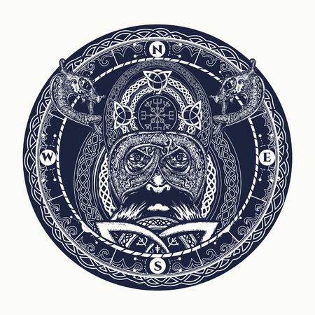 스칸디나비아 장식 문신, 반지 바이킹. 전사 헤드 t 셔츠 디자인 바이킹. 셀틱 부적의 힘 문신. 나침반, 용, 민족 스타일