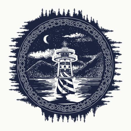 Faro sulla arte del tatuaggio lago di montagna. Simbolo di viaggi, turismo, la meditazione, le avventure, grandi spazi aperti. Faro sulla t-shirt stile di disegno pantaloni a vita bassa lago di montagna paesaggio