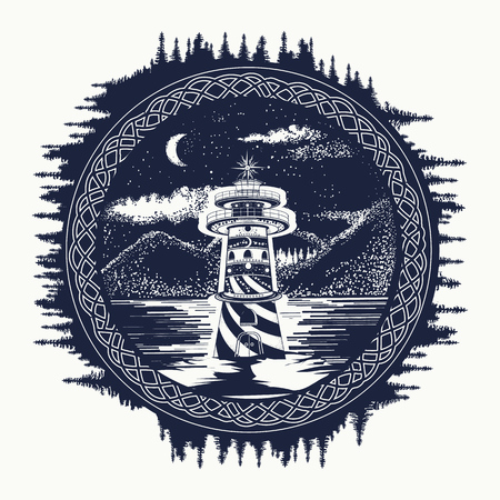 Phare sur le tatouage art lac de montagne. Symbole Voyage, tourisme, méditation, aventures, grands espaces. Beacon sur le t-shirt de style de conception hippie lac de montagne paysage Banque d'images - 70263272