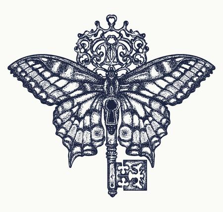 나비와 키 문신 예술. 자유, 영적 검색, 비행, 여행의 신비로운 상징. 아름 다운 나비 티셔츠 디자인 보헤미안 스타일
