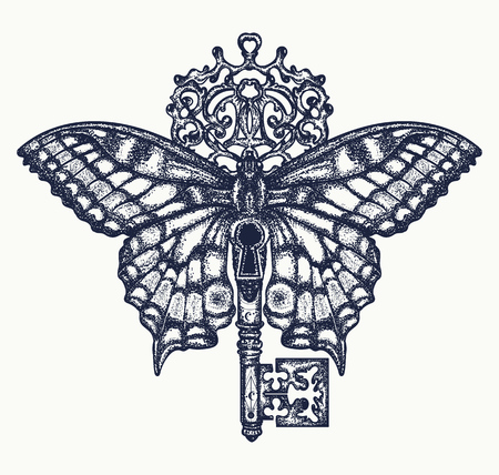 Butterfly and key tattoo art. Mystical symbol of freedom, spiritual search, flight, travel. Beautiful butterfly t-shirt design boho style Illustration