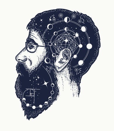 creator: Scientist tattoo. Symbol of dreamer, creator, philosopher. Double exposure style tattoo art, portrait of hippie fashionable man t-shirt design Illustration
