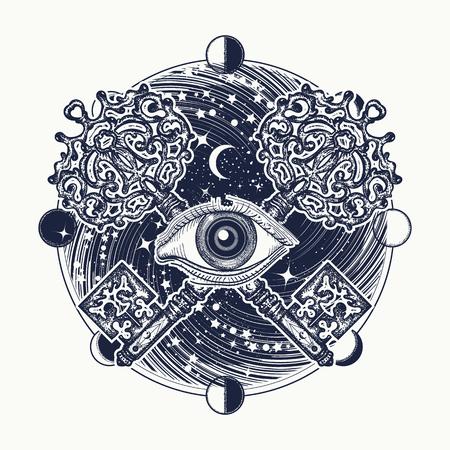 Alles sehende Auge Tätowierung okkulte Kunst, freimaurerische Symbol und Vintage magische Schlüssel. Mystische esoterische Symbol des geheimen Wissens. Alles sehende Auge Geheimnis des Universums T-Shirt Design