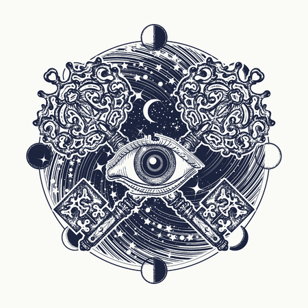 All seeing eye tattoo occult art, masonic symbol and vintage magic key. Mystical esoteric symbol of secret knowledge. All seeing eye mystery of universe t-shirt design Vettoriali