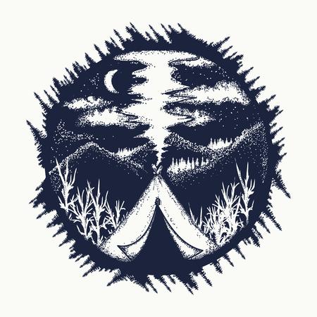 山のタトゥー アートのテント。シンボル、観光、極端なスポーツ、屋外を旅行します。山の月の夜 t シャツのデザインでのキャンプ