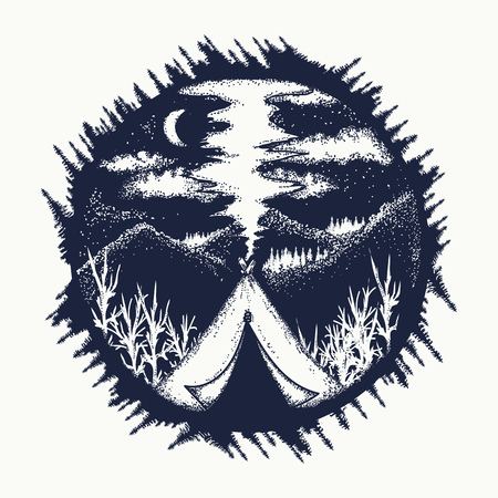 Tent in mountains tattoo art. Travel symbol, tourism, extreme sports, outdoor. Camping in the mountains moon night t-shirt design