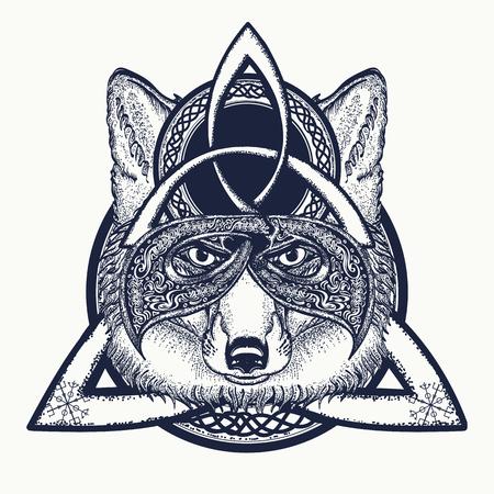 Fox viking in the celtic style, tattoo art. Fox t-shirt design art animals. North tattoo Vettoriali