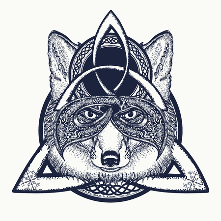 Fox viking in the celtic style, tattoo art. Fox t-shirt design art animals. North tattoo Vectores