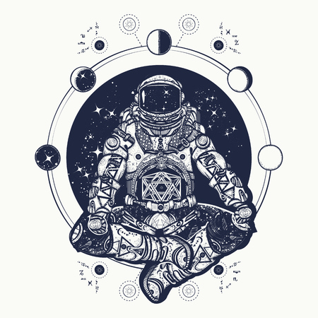 Astronaut in the lotus position tattoo art. Symbol of meditation, harmony, yoga. Astronaut and Universe t-shirt design. Spaceman silhouette sitting in lotus pose of yoga tattoo