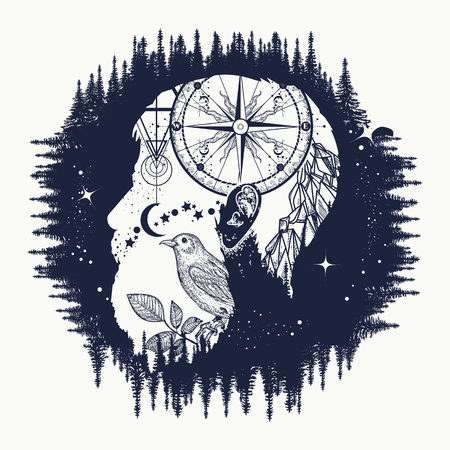 Hipster, double exposure tattoo art. Symbol travel, tourism, adventure. Portrait of hipster t-shirt design, compass, mountains, birds Stock Illustratie