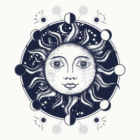 Sun arte del tatuaggio. fasi lunari. Medievale simbolo alchemico del sole, fasi lunari Album da colorare, arte del tatuaggio e del design t-shirt. Geometria Sacra sole Vettoriali