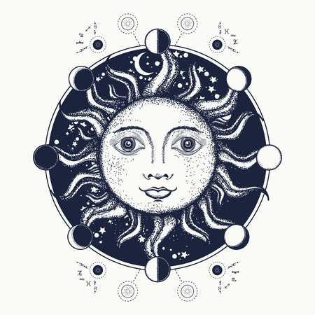 Sun tattoo art. Moon phases. Medieval alchemical symbol of the sun, moon phases coloring book, tattoo art and t-shirt design. Sacred Geometry sun
