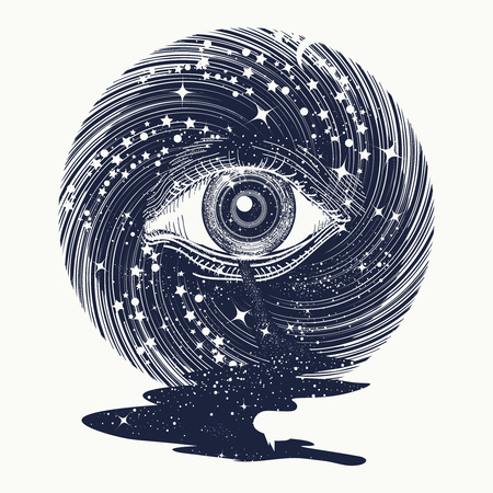 illuminati: All seeing eye in space among stars tattoo art vector. Freemason and spiritual symbols. Alchemy, occultism, spirituality and esoteric tattoo. Magic eye in universe. Star river Illustration
