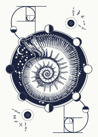 Golden Section tattoo. Space Ammonite and moon phases, sacred geometry t-shirt design. Mystical astrological symbol of harmony, symmetry, golden ratio. Ammonite fossil occult tattoo art