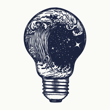 t bulb: Storm in a light bulb tattoo. Symbol of adventures boho style. Great outdoors. Tsunami waves tattoo and t-shirt design Illustration