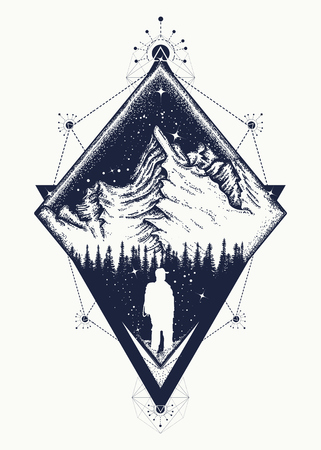 Mountain triangular style tattoo art. Symbol of climbing, camping, great outdoors, tourism, adventure, meditation. Tourist in the mountains boho style t-shirt design Ilustracja