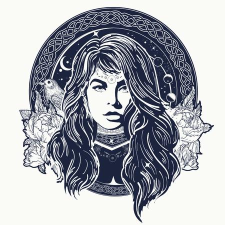 Mujer oráculo arte del tatuaje. Mística adivino de destino. Símbolo de lo oculto, esotérico, mágico. mujer chamán diseño de la camiseta Ilustración de vector