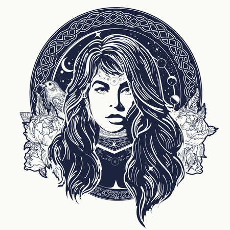 Woman oracle tattoo art. Mystical fortune teller of destiny. Symbol of the occult, esoteric, magic. Female shaman t-shirt design