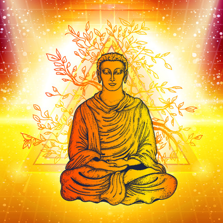 Buddha in a lotus pose. Meditation symbol, yoga, spirituality, religious. Golden Buddha under the magic tree in rays of light. Buddhism art, t-shirt design