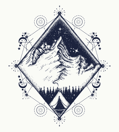Mountains tattoo art. Symbol of tourism, travel, adventures, meditation, climbing, camping, great outdoors, boho style. Tent in the mountains t-shirt design Ilustração