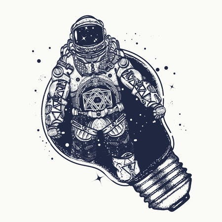 t bulb: Astronaut in a light bulb  tattoo art. Symbol of creative thinking, new ideas. Astronaut surreal graphics t-shirt design Illustration