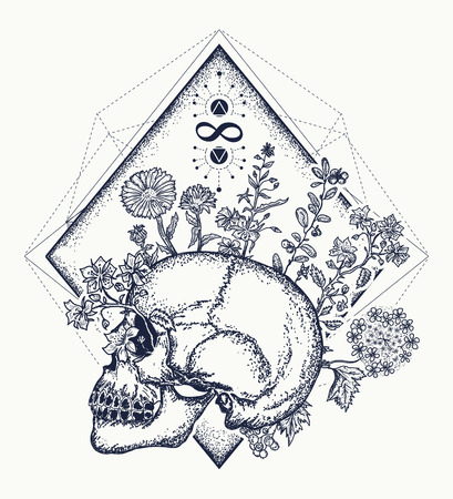 Human skull through which flowers, tattoo art, symbol of life and death, sign of infinity and immortality. Art concept of human soul. Psychology, philosophy, poetry t-shirt design