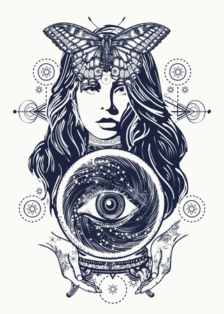 Magic woman tattoo art. Fortune teller, crystal ball, mystic and magic. All seeing eye of future. Occult symbol of the fate predictions. Beautiful witch woman t-shirt design