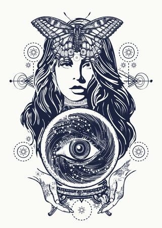 arte del tatuaje mujer mágica. adivino, bola de cristal, místico y mágico. Todo el ojo del futuro. símbolo oculto de las predicciones del destino. diseño de la camiseta hermosa bruja