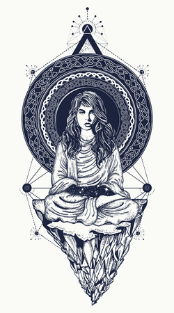 Girl meditates on the flying mountain tattoo art. Infinite space, meditation symbols, travel, tourism, outdoor. Woman practicing yoga t-shirt design