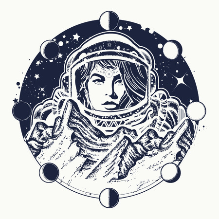 Woman astronaut tattoo art. Spaceman exploring new planets. Mountains on Mars. Symbol of space travel, scientific research. Astronaut t-shirt design
