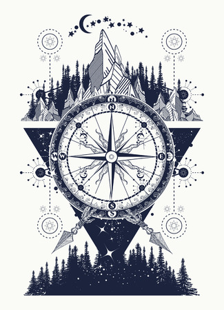 Bergen en antieke kompas tattoo art. Avontuur, reis, in openlucht, symbool. Kompas, bergen en nachtbos boho-stijl, t-shirt design