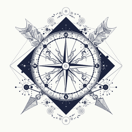 Compass and crossed arrows tattoo art. Symbol of tourism, adventure, travel. Rose compass t-shirt design. Tattoo for travelers, climbers, hikers