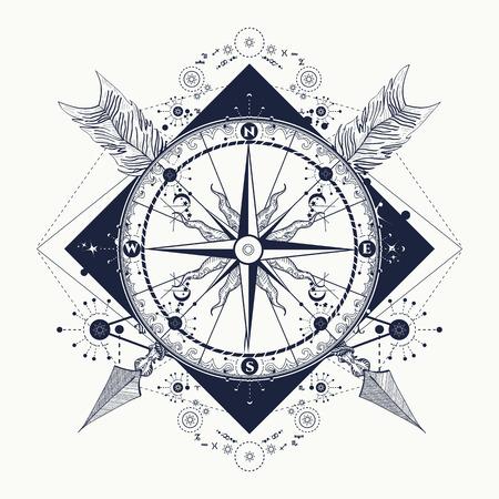 Rosa De Los Vientos Y Las Flechas Cruzadas Del Tatuaje Estilo Boho