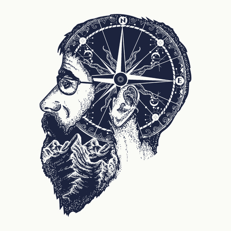 Double exposition portrait of the traveler tattoo art. Dreamer, tourist, fashionable bearded hipster man t-shirt design. Mountains and compass in silhouette of person art graphic Illustration