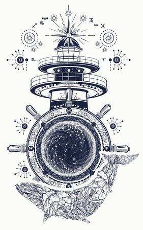 등 대와 꽃 고래 문신 예술. 모험의 신비로운 기호, 꿈. 대, 스티어링 휠과 고래 t- 셔츠 디자인. 여행, 모험, 야외 기호, 해양 문신 일러스트