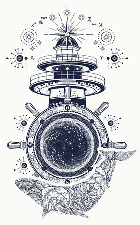 Lighthouse and floral whale tattoo art. Mystical symbol of adventure, dreams. Lighthouse, steering wheel and Whale t-shirt design. Travel, adventure, outdoors symbol, marine tattoo Illustration